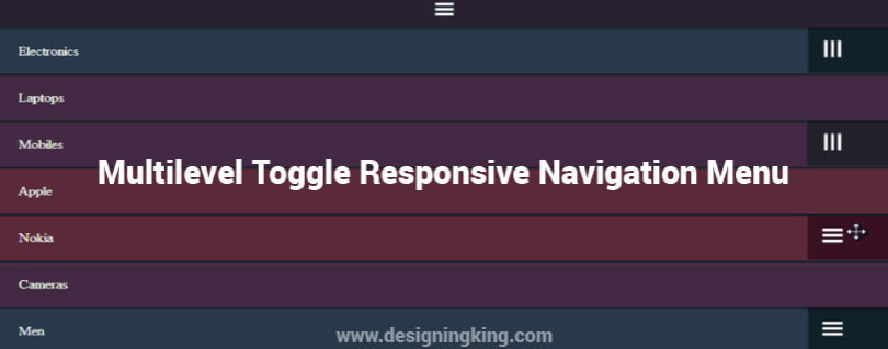Multilevel Toggle Responsive Navigation Menu with jQuery - Designing