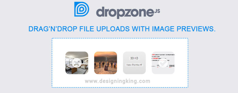 DropzoneJS: jQuery plugin, uploads file with image previews